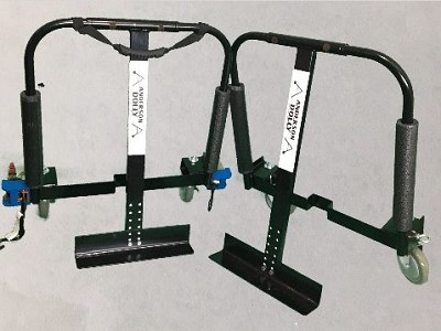 Adjustable 5 inch caster Vending Dolly 1300 pound capacity (set of 2) with retractable ratchets.